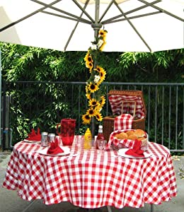 "Polyester Gingham Umbrella Table Cloth, 50""X80"" Rectangle"