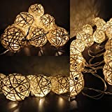 SBX 35 Rattan Balls(4M) Storm Cream White Rattan Ball Fairy String Lights - Warm White- Ideal Wedding - Christmas & Party String Lights Holiday Home Bedroom Use