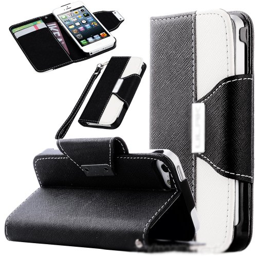 Mylife Black And White Fashion Design - Textured Koskin Faux Leather (Card And Id Holder + Magnetic Detachable Closing) Slim Wallet For Iphone 5/5S (5G) 5Th Generation Smartphone By Apple (External Rugged Synthetic Leather With Magnetic Clip + Internal Se