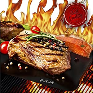 Ouddy BBQ Grill Mat, (Set of 4) Baking Mats - High Quality, Thick, Durable, Non-Stick, Heat Resistant and Dishwasher Safe