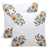Store Indya Set of 2 Cushion Covers Hand Woven in Pure Cotton with Floral Prints Throw Pillow Case Home Sofa Decorative