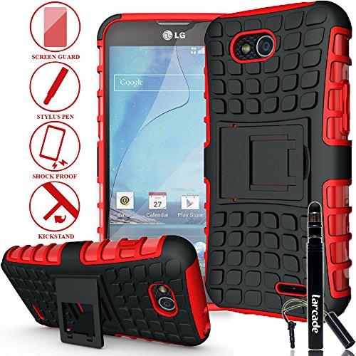 Larcade (Tm) 3 In 1 Bundle - Lg Optimus L90 (T-Mobile) / D415 - Heavy Duty Grenade Armor Case With Kickstand - Red (Include Premium Screen Protector & Sensitive Cap Stylus Pen By Larcade) (Satisfaction Guaranteed)