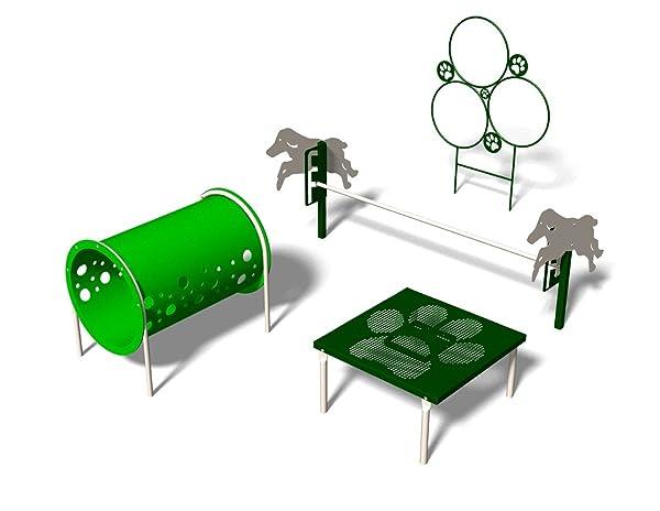 BarkPark Novice 4-Piece Dog Agility Course Set, Green/Beige (Color: Green/Beige)