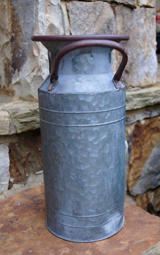 Galvanized Milk Can, Metallic