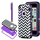 iPhone 5C Case, iPhone 5C Cover, ULAK 3in1 Fashion Chevron Wave Pattern Armored Hybrid PC & TPU [Shock Absorbing] Combo Case for Apple iPhone 5C with Screen Protector and Stylus -Retail Packaging (Chevron + Purple PC)