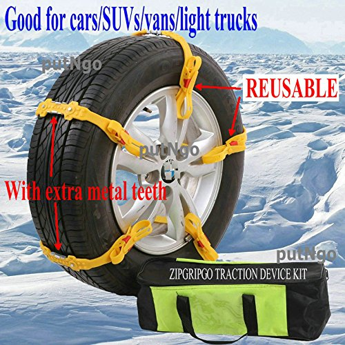 Click to open expanded view Reusable zip grip go snow tire chains for Cars, SUVs, vans, light trucks. good in snow, ice, mud Easy to install Universal winter safety kit/set of 10 (Tires Zip Ties compare prices)