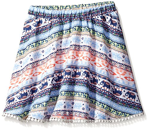 My Michelle Big Girls All Over Printed Scooter Skirt with Hem Detail, Multi, Medium