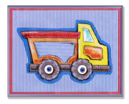 The Kids Room by Stupell Yellow and Orange Dump Truck on Blue Stripes Rectangle Wall Plaque