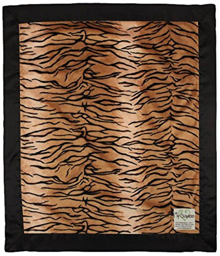 "My Blankee Tiger Black/Brown Minky Velour with Black Flat Satin Border, Baby Blanket 30"" X 35"""