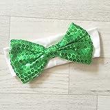 Cinta ajustable de algodón y grandes lentejuelas, diseño de lazo, color blanco y verde