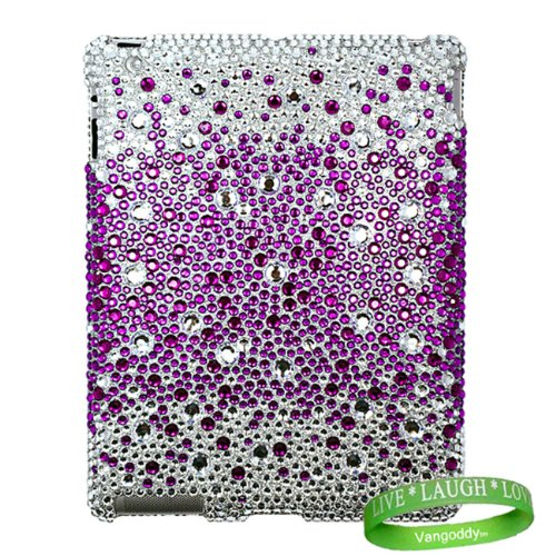 Apple iPad 2 2nd Generation Tablet Two Piece Diamond Case Design ( Purple & Silver )