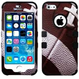 myLife (TM) Black - Football Print Series (Neo Hypergrip Flex Gel) 3 Piece Case for iPhone 5/5S (5G) 5th Generation... by myLife Brand Products