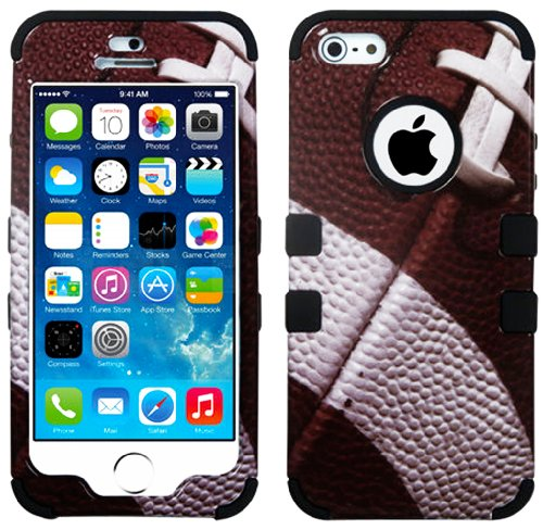 "myLife (TM) Black - Football Print Series (Neo Hypergrip Flex Gel) 3 Piece Case for iPhone 5/5S (5G) 5th Generation iTouch Smartphone by Apple (External 2 Piece Fitted On Hard Rubberized Plates + Internal Soft Silicone Easy Grip Bumper Gel + Lifetime Warranty + Sealed Inside myLife Authorized Packaging) ""Attention: This case comes grip easy smooth silicone that slides in to your pocket easily yet won't slip out of your hand"""