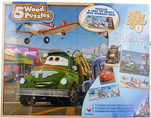 Disney Planes and Cars 5 Wood Puzzle Set - 1