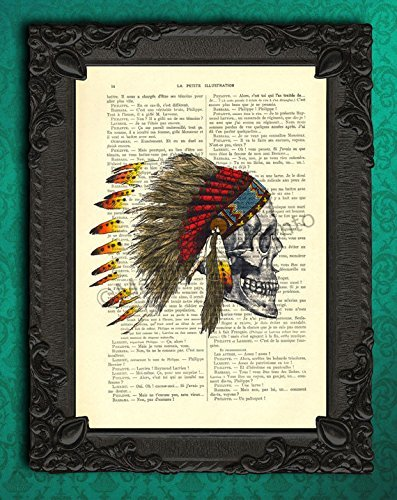 Skull indian headdress artwork, feather hat poster, cranium wall hanging decor, dictionary art print, cool native american stuff (Cool Skull Stuff compare prices)
