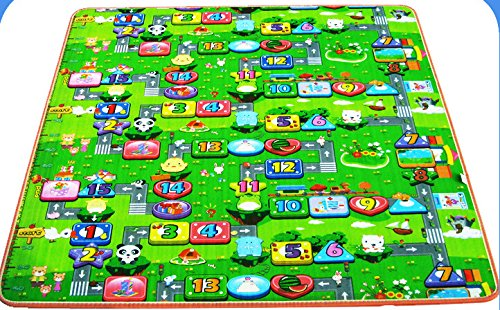 Fantastic Job 200*180*0.5Cm Eco-Friendly Non Slip & Waterproof Two-Sided Thickness Baby Crawling Mat Baby Crawling Pad/ Game Mat (Monopoly+Fruit Alphabet) front-329642