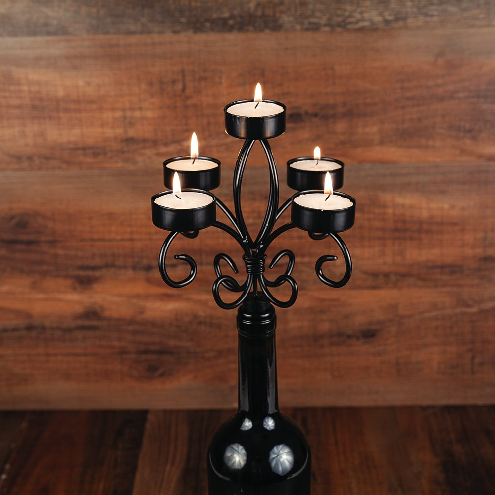 Wrought Iron 5-Tier Tea Light Candelabra