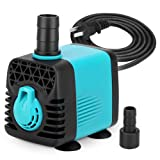 KEDSUM 130GPH Submersible Pump (600L/H,10W), Ultra Quiet Water Pump with 3ft High Lift, Fountain Pump with 4.6ft Power Cord, 2 Nozzles for Fish Tank, Pond, Aquarium, Statuary, Hydroponics (Tamaño: 130GPH)
