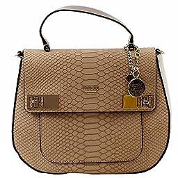 Guess Women\'s Milo Camel Flap Over Satchel Handbag