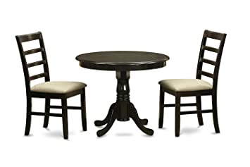 East West Furniture ANPF3-CAP-C 3-Piece Kitchen Table and Chairs Set, Cappuccino Finish