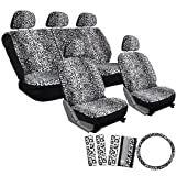OxGord 17pc Leopard Seat Cover Set for the Suzuki Forsa Hatchback in White Snow Leopard Print
