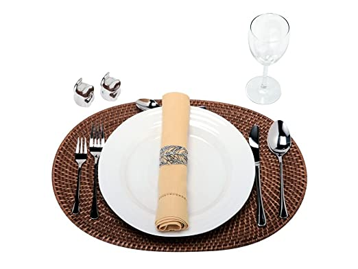 Honey Brown Oval Rattan Set of 2 Placemats by Kouboo