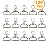 YYCC 1 Inch Inside Diameter D Ring Metal Swivel Clasps Lobster Claw Clasps Key Chain Swivel Snap Hooks Jewelry Findings,for Lanyard and Sewing Projects,Handbag Purse Hardware Craft (Pack of 100)