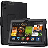Bestwe Ultra Slim Protective Ledertasche Flip Case Tasche Etui für Kindle Fire HDX 7 Tablet mit Ständerfunktion--Multi Color Options (Kindle Fire HDX 7 Tablet, Schwarz)