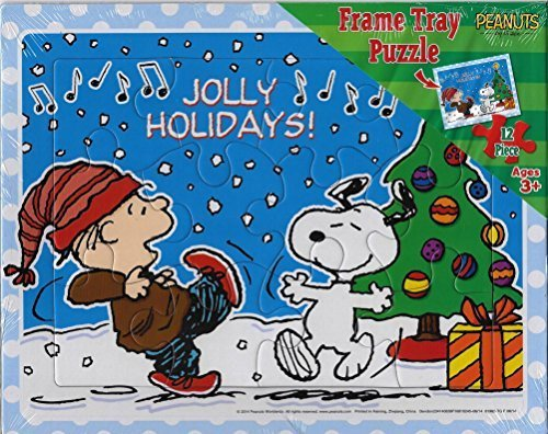 Peanuts Jolly Holidays Christmas Frame Tray Puzzle with Snoopy and Linus - 1