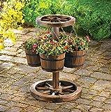 Garden Planters Wooden & Metal Hanging Pots Indoor Outdoor Decorative Balcony Deck Corner Stand Ornament