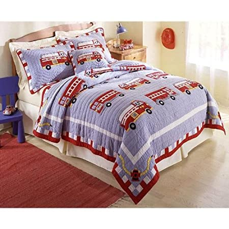Cotton Fire Truck Twin Quilt with Pillow Sham