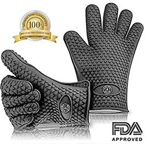 KHOMO GEAR - Pair of Heat Resistant Oven Gloves - For BBQ Grill / Ovens / Kitchen - One Size Fits Most - Grey