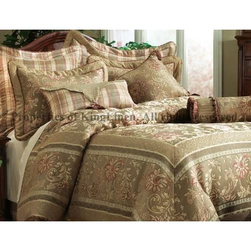 11pcs King Olive Regal Comforter Curtains Bed In A Bag