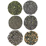Green Teas of the World Sampler, 6 Loose Leaf Green Teas From India, Japan, and China-6-4oz tins