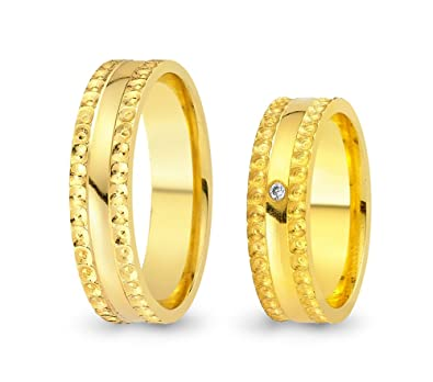 2 Wedding Rings / Friendship Rings Gold CC1007501 750 Yellow Gold with Zirconia