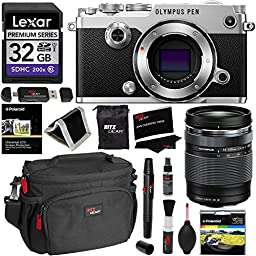 Olympus PEN-F Body Only Silver Camera + 14-150mm Lens + Lexar 32GB Memory Card + Polaroid 58mm UV Filter + Ritz Gear Cleaning Kit, Camera Case, OTG USB Card Reader, Screen Protector & Accessory Bundle