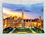 Ambesonne European Cityscape Decor Collection, Brussels Citscape with Monument Belgium Avenue Medieval in Gothic Style Print Deco, Bedroom Living Room Dorm Wall Hanging Tapestry, 80 X 60 Inches, Multi