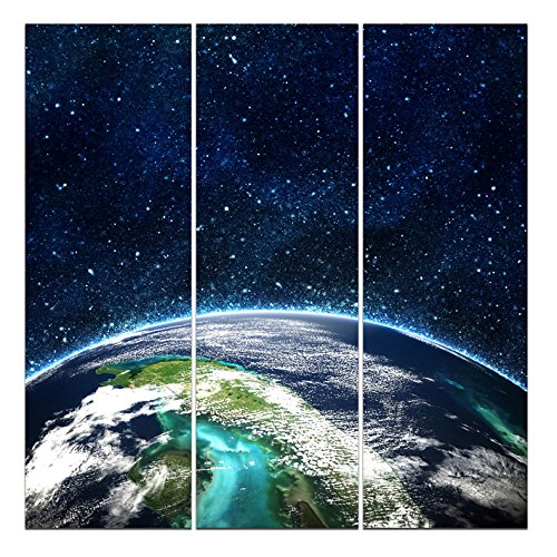 Wieco Art - The Universe Modern Extra Large 3 Panels Gallery Wrapped Giclee Canvas Prints Space Pictures Photo Paintings on Canvas Wall Art Work Ready to Hang for Living Room Home Office Decor XL (Universe Pictures compare prices)