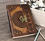 Store Indya Leather Journal Lock Diary Book with Unlined Cotton Paper, Hand Embossed Foliage Patterned Flap Cover
