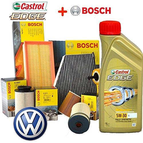 Kit tagliando olio CASTROL EDGE 5W30 5LT 4 FILTRI BOSCH VW GOLF 5 V 1.9 TDI BLS
