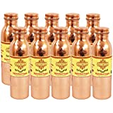 "IndianArtVilla 10.3"" X 3.0"" Handmade Joint Free Leak Proof Copper Thermos Design Set Of 10 Water Bottle Volume..."