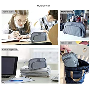 Aiscool Big Capacity Pencil Case Bag Pen Pouch Holder Large Storage Stationery Organizer for School Supplies Office College (Gray) (Color: Gray)