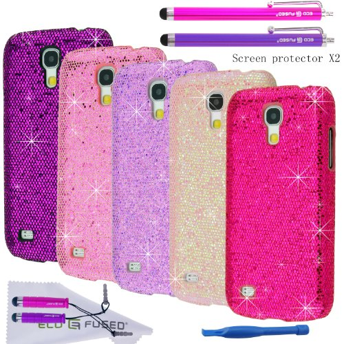 Eco-Fused Case Bundle for Samsung Galaxy S4 Mini (I9195) including 5 Bling Glitter Covers / 4 Stylus Pens / 2 Screen Protectors / Opening tool / Microfiber Cleaning Cloth included (Samsung Galaxy Mini Girl Cases compare prices)