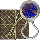 Chatt Murano Style Art Glass Blue Gold Magnetic Eyeglass Holder in Gift Box