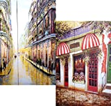 3-panel Double Sided Painting Canvas Room Divider Screen Eat Drink Enjoy Restaurant