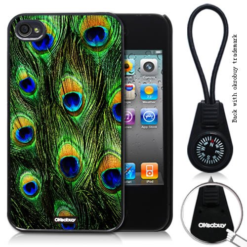 Oksobuy® -The New Apple Iphone 4/4s Peacock Feather Style Background Case Cover Skin Protection for the Iphone 4/4s (Apple Iphone 4/4s Case,black)-0318