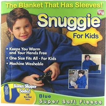 Snuggie for Kids Deluxe with Slipper Socks - Blue