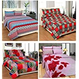ZAIN 100% COTTON MULTICOLOUR (COMBO OF 4 ) 4 DOUBLE BEDSHEETS WITH 8 PILLOW COVERS