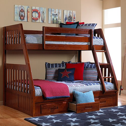 Best Price Merlot Twin Full Bunk With 3 Drawers Tv Stand