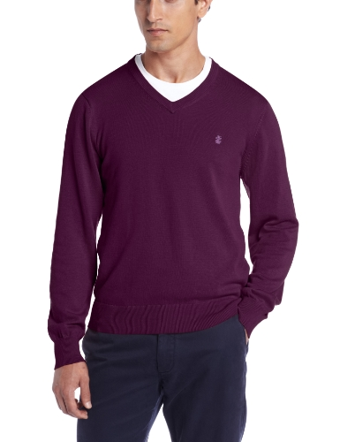 IZOD Men's Long Sleeve  Essential Solid V-Neck Sweater, Plum Purple, Large $24.99